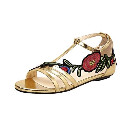 78128348ce733 Amazon.com: Creazrise Women's Rose Embroidery Strappy Summer Sandal ...