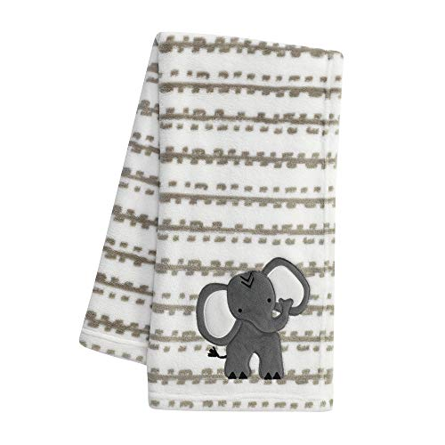 Lambs & Ivy Jungle Safari White/Tan Plush Minky Elephant Nursery Baby Blanket from Lambs & Ivy