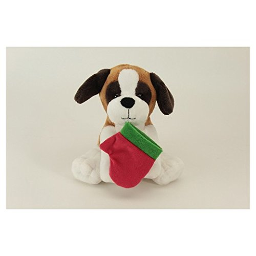 Brown White Dog Puppy St Bernard w/holiday stocking Plush Stuffed Animal Measures 9.5