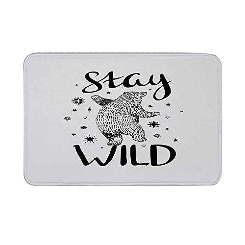 (Bear Non Slip Door Mat,Dancing Bear in Hand Drawn Style with Cute Little Stars Stay Wild Inspirational Quote Decorative Floor Mat for Bathroom Living Room,23