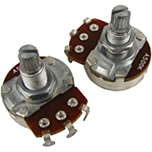 Musiclily Guitar Full Size Pots A500K Split Knurled Long 18mm Shaft Audio Volume Taper Potentiometers for Fender Stratocaster Telecaster Les Paul LP Electric Guitar Bass Replacement (Pack of 2)