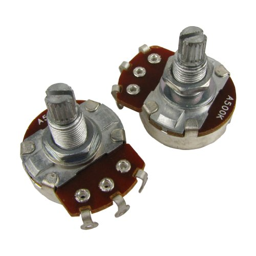 500k Audio Pot - Musiclily Guitar Full Size Pots A500K Split Knurled Long 18mm Shaft Audio Volume Taper Potentiometers for Fender Stratocaster Telecaster Les Paul LP Electric Guitar Bass Replacement (Pack of 2)