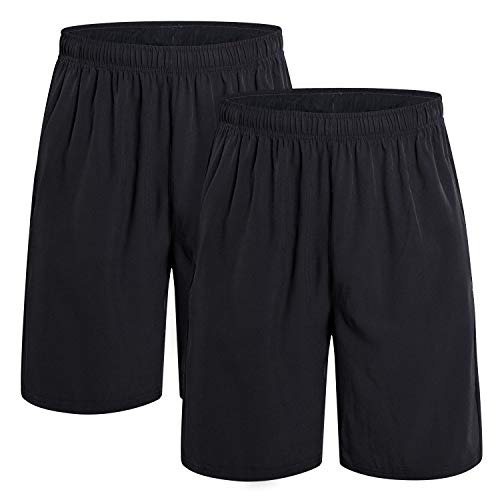 CAMEL CROWN Running Shorts Men Pockets Quick Dry Light Breathable Athletic Shorts for Gym Basketball Workout Active Training 2 Pack Black XL