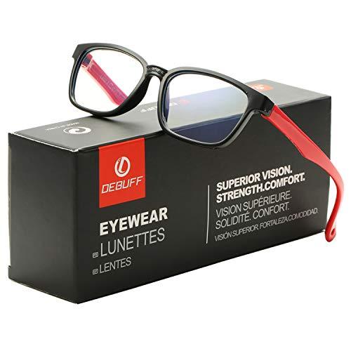 DeBuff Kids Blue Light Blocking Glasses Square Nerd Soft Eyeglasses Frame, UV400 Protection ()