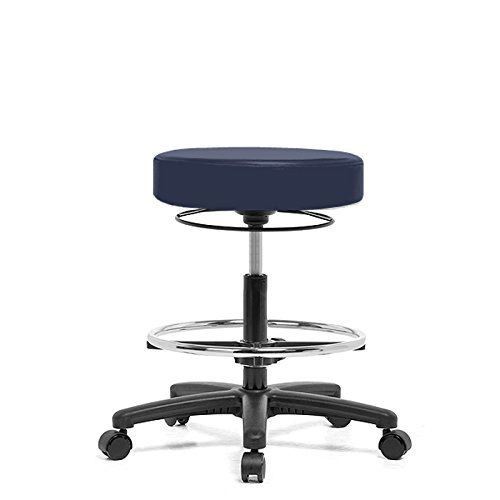 """Top Medical Pneumatic Adjustable Exam Stool with Chrome Footring 21"""" - 28.5"""" - Imperial Blue Vinyl - Black Casters"""