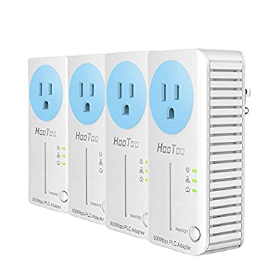 HooToo AV600 Powerline Adapter Starter Kit with Up To 600Mbps Data Transfer Speed (One-Button Fast Pairing Operation, Built-In AC Socket - 4 Pack of HT-ND002) from HooToo