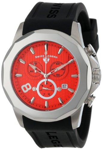 Swiss Legend Men's 10042-06 Monte Carlo Chronograph Orange Textured Dial Black Silicone Watch