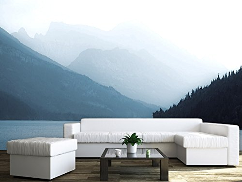Large Wall Mural Moutains and Trees along the River in the Mist Vinyl Wallpaper Removable Wall Decor