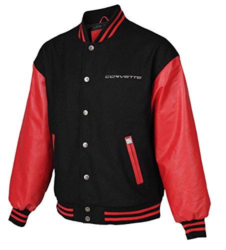 Corvette Leather Bomber Jackets - CHICAGO-FASHIONS Mens Corvette Varsity Letterman Black and Red Wool Bomber Jacket