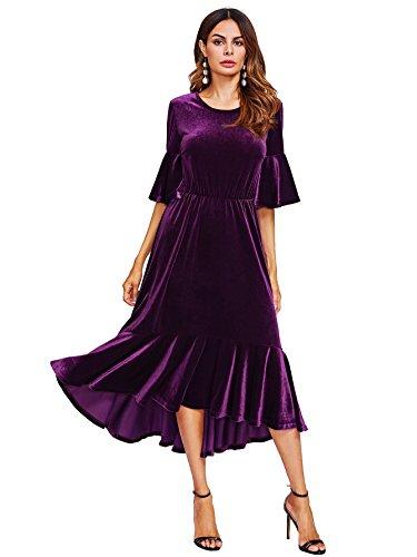 Floerns Women's Trumpet Sleeve Flounce Ruffle Hem Velvet Midi Dress Purple - Purple Velvet Dress