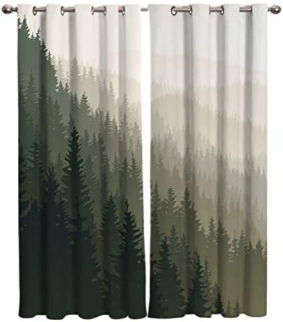 Edwiinsa Forest Kitchen Blackout Curtains Window Drapes Treatment