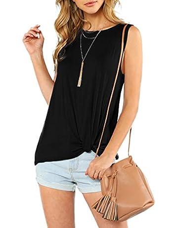 dca726d81ebd6 OYANUS Womens Cold Shoulder Long Sleeve Twist Knot Blouses Striped Basic T  Shirt Tops