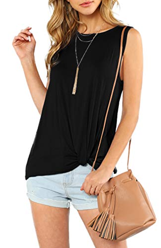 (OYANUS Womens Tank Tops Casual Summer Sleeveless Shirts Twist Knot Basic T Shirts Blouses Black M)