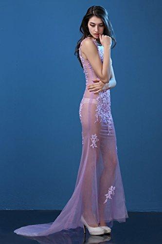 Tailing Arm Spitze Emily Abendkleider Ohne Hellviolett See Beauty V Ausschnitt Through Bq7xUwafw