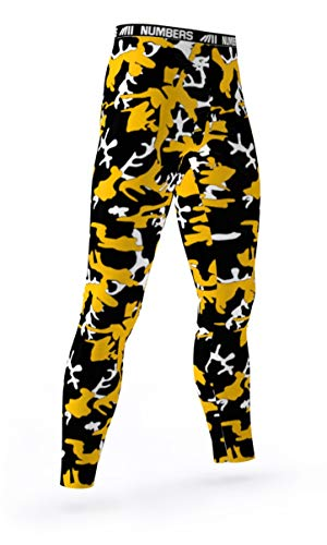 (Numbers Athletics Full Length Tights- Chemical Sting (Black, Yellow, White) Boys Mens Girls Womens Basketball Football Compression Tights Sports Pants Baselayer Running Leggings to Match Uniforms)
