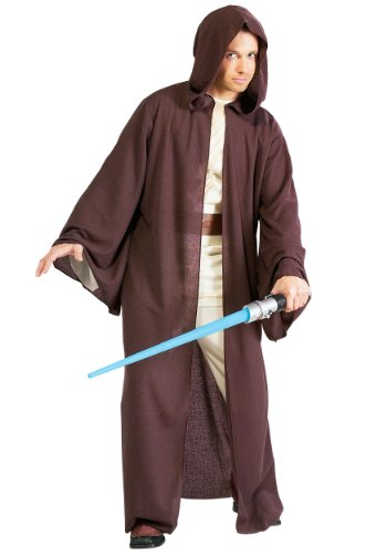 Rubies Mens Star Wars Deluxe Hooded Jedi Robe Theme Party Costume, Standard (up to 44)