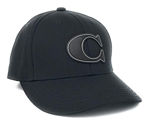 Coach Black C Leather Varisty Logo Baseball Cap Hat F33777 Black