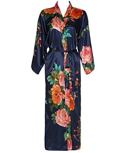 Zarachilable Women 's Long Kimono Robe Floral Bridesmaid Robe,Bridal Robe (One Size, Navy) (Robe Long)