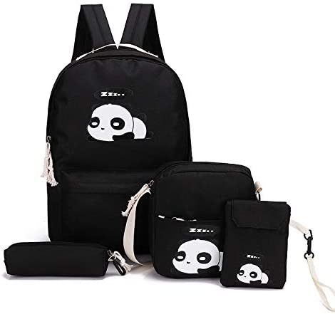 4pcs Cute Panda Print Women Canvas Backpack Set Rucksack
