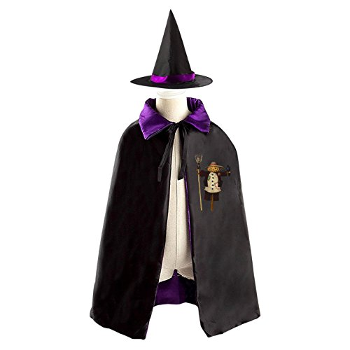 Pumpkin Scarecrow Children Wizard Cape and Hat Costume Reversible Halloween Party - Scarecrow Halloween Makeup