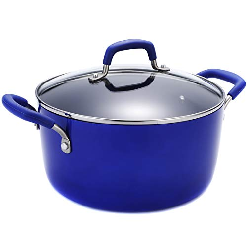 Momscook Stockpot 5-Quart Covered Dutch Oven, Classic Brights Hard Enamel Aluminum Nonstick Stockpot, Dishwasher Safe Casserole, Blue