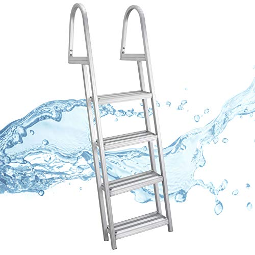 RecPro Marine Pontoon Boat Dock Heavy Duty Aluminum 4 Step Removable Boarding Ladder AL-A4 ()