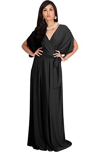 KOH KOH Womens Long Formal Short Sleeve Cocktail Flowy V-Neck Casual Bridesmaid Wedding Party Guest Evening Cute Maternity Work Gown Gowns Maxi Dress Dresses, Black L 12-14