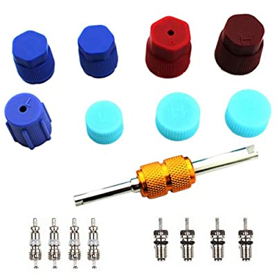 Air Conditioning Valve Core Kit | Car & Home AC R12 R134a Teflon Seal Refrigeration Schrader Valve Core with Valve Stem Core Rmover Tool Air Conditioning AC System Charging Port Seal Caps Kit: Automotive