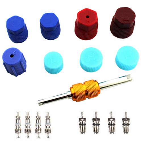 Core Conditioning Air - Air Conditioning Valve Core Kit | Car & Home AC R12 R134a Teflon Seal Refrigeration Schrader Valve Core with Valve Stem Core Rmover Tool Air Conditioning System Seal Caps Kit