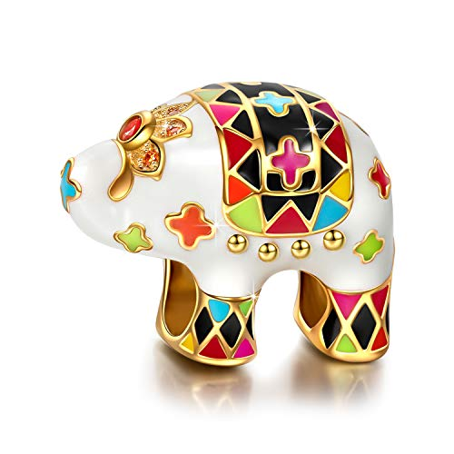 NINAQUEEN 925 Sterling Silver Animal Elephant Enamel Bead Charms for Pandöra Bracelets Valentines Day Anniversary Birthday Gift for Kids Women Wife Girlfriend Girls Niece Sisters Daughter Birthstone Kid Sterling Silver Charm