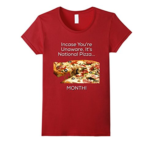 Womens National Pizza Day T Shirt Large Cranberry