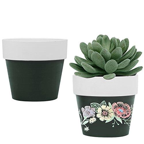 - MyGift Set of 2 Ceramic Chalkboard 3-Inch Succulent Planter Pots