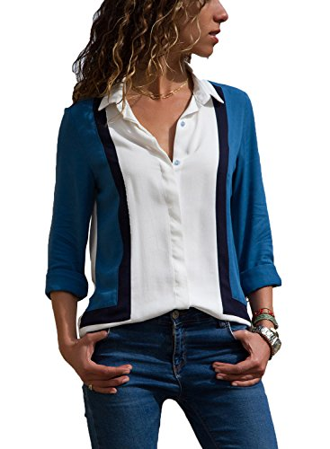 Fashion Color Block Button up V Neck Long Sleeve Work Blouses Tops Shirt for Women White Blue XXL