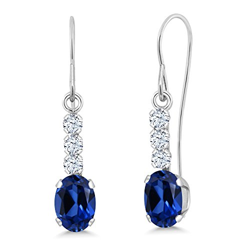 Gold Simulated Stone Earrings (1.54 Ct Oval Blue Simulated Sapphire 10K White Gold Earrings)