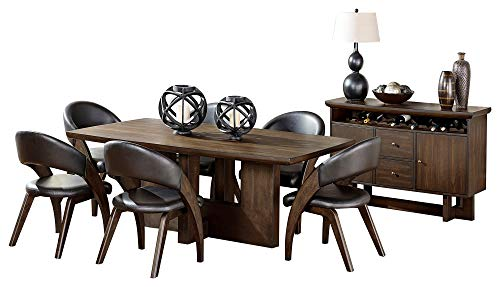 Ochsner Rustic Urban 8PC Dining Set Table, 6 Chair, Server in Brown