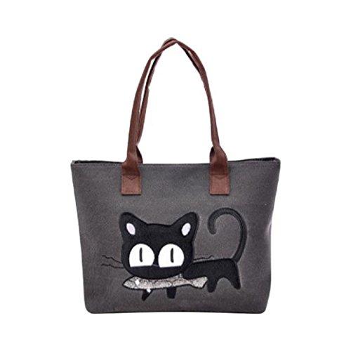 Nouveau Sac Chat Bandoulière Noir Mode bureau Bag Mignon Toile Fami Lunch Femmes À 6YdwIF