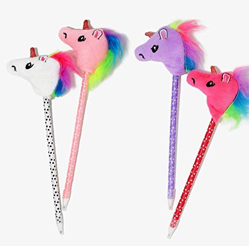 Unicorn Pen Party Favor Supplies - 12 Pack Plush Polka Dots Colorful Rainbow Birthday Sleepover Classroom Prizes or Gift for Kids Girls Tween Teens