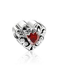 Lovan 925 Sterling Silver Birthstone Red Crystal Victoria Heart Charm Fit Pandora Bracelets