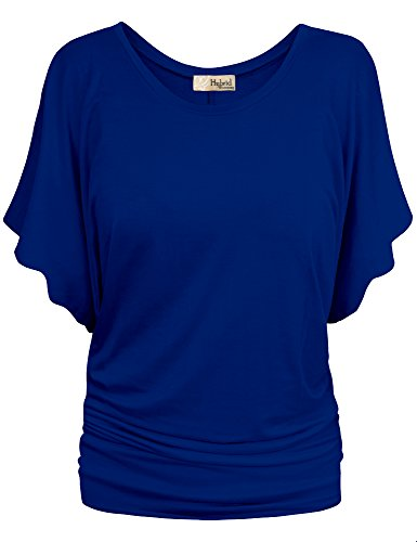 Womens Boat Neck Dolman Top Shirt KT44130X Royal 1X