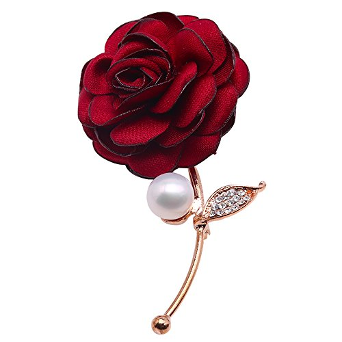 JYX Wedding Brooch Jewelry 9.5mm White Freshwater Pearl Brooch Red Rose Brooch Pin by JYX Pearl
