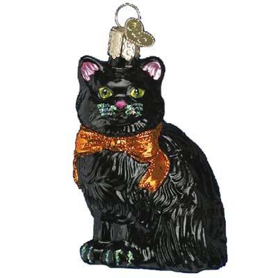 Old World Christmas Halloween Kitty Glass Blown (Hallmark Halloween Glass Ornaments)