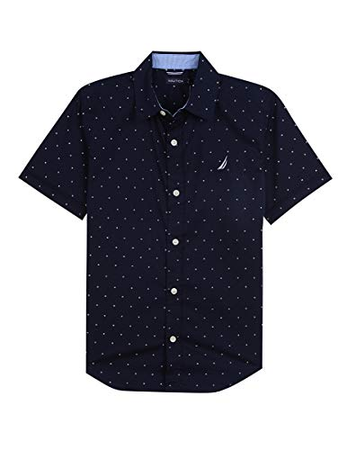 (Nautica Big Boys' Short Sleeve Printed Woven Shirt, Milo Sport Navy, X-Large (18/20))