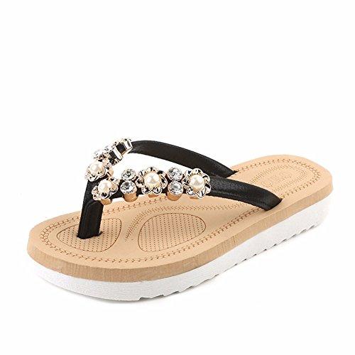 YUCH Antiresbaladiza De Mujer Zapatillas Planas Diamantes Sandalias Black AprATwq