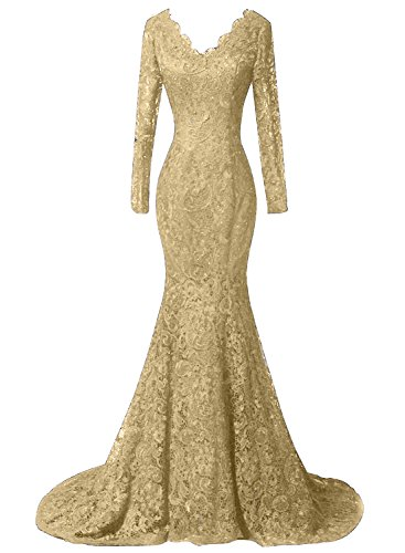 - DKBridal Women's Long Sleeves Mermaid Lace Beaded Formal Prom Evening Dresses Party Gowns Golden 6