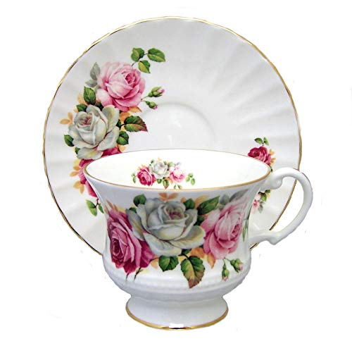 SUMMER ROSES Cup and Saucer - PINK, WHITE, BURGUNDY ROSE - Fine English Bone China