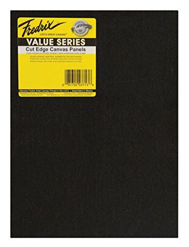 Fredrix Value Series Cut Edge Canvas Panel, 8 x 10 in, Black, Pack of 25 ()