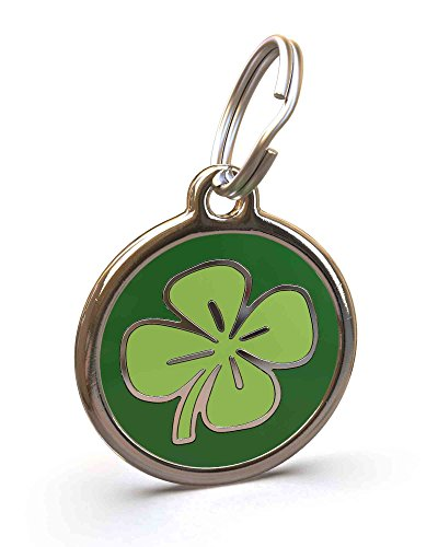 UNLEASHED.DOG Customizable Engraved Dog ID Tag - Stainless Steel with Clover Enamel Inlay - Medium
