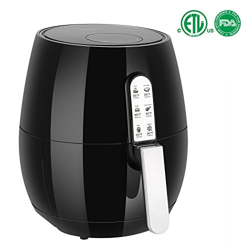 PERSHOW 3.7Quart(3.5L), 1400 Watt Electric 7 Cook Presets Air Fryer, Comes with Recipes & CookBook - Touch Screen Control - Dishwasher Safe - Auto Shut off & Timer
