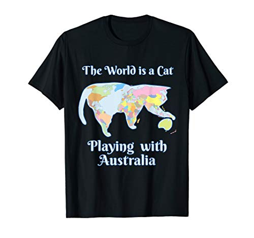 Funny World is a Cat Playing Map t-shirt for Women and Kids (Best T Shirts Australia)