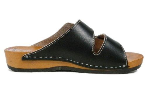 Buxa Herren Holz und Leder Sandalen/Clogs mit Doppelschnalle Schwarz